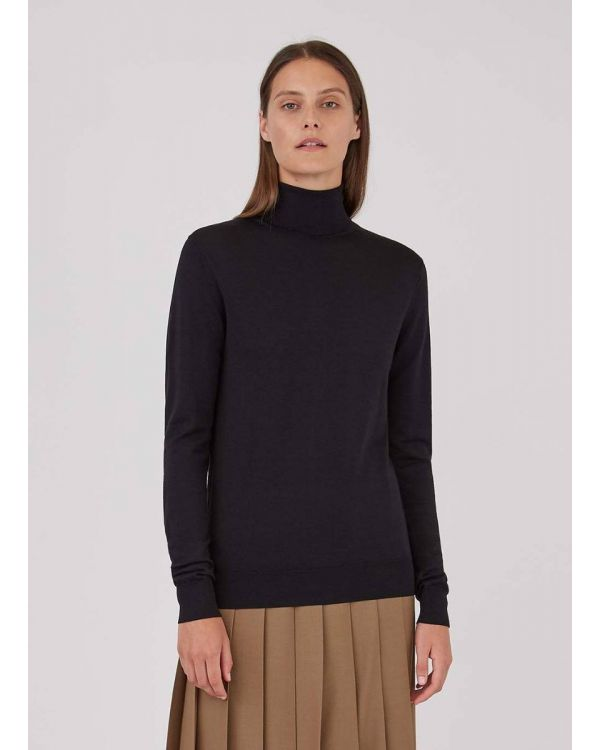Women's Merino Silk Roll Neck Jumper in Black
