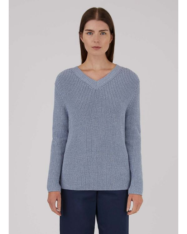 Women's Cotton Rib V-Neck Jumper in Blue Twist