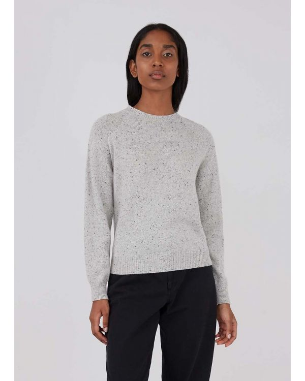 Women's Lambswool Donegal Crew Neck Jumper in Ecru Marl