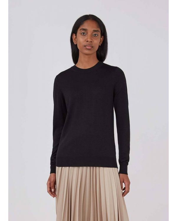 Women's Merino Silk Crew Neck Jumper in Black