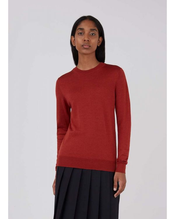 Women's Merino Silk Crew Neck Jumper in Brick