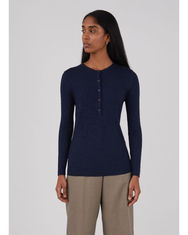 Women's Merino Silk Rib Henley in Navy