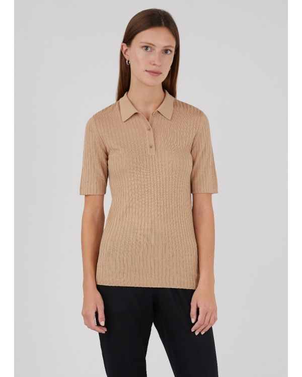 Women's Merino Silk Rib Polo in Cashew