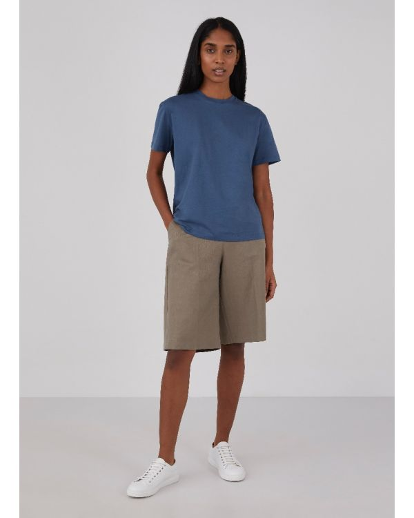 Women's Linen Lyocell Long Shorts in Soft Khaki