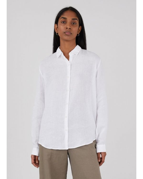 Women's Italian Linen Shirt in White