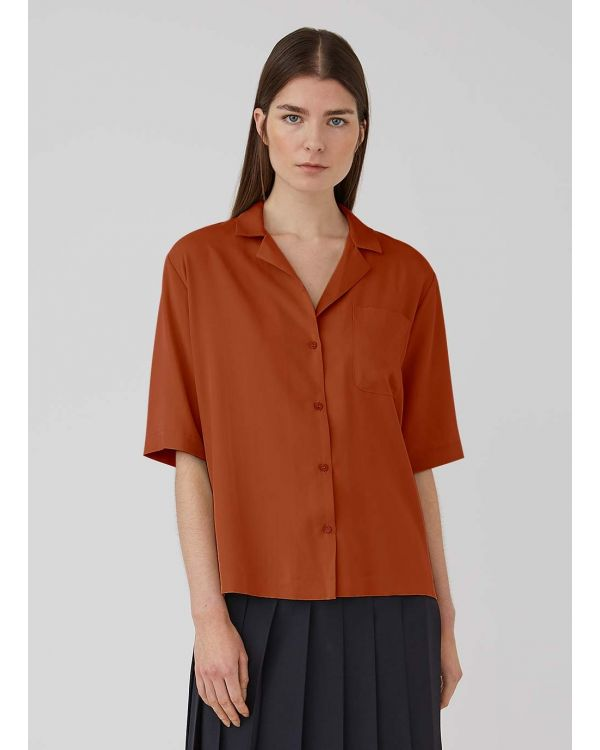 Women's Tencel Pyjama Collar Shirt in Deep Tobacco
