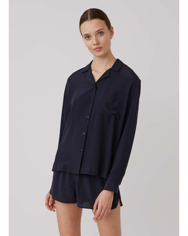 Women's Silk Shirt in Navy