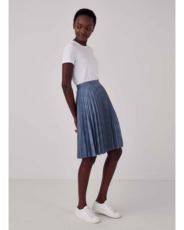 Women's Wool Sunray Pleat Skirt in Blue Check