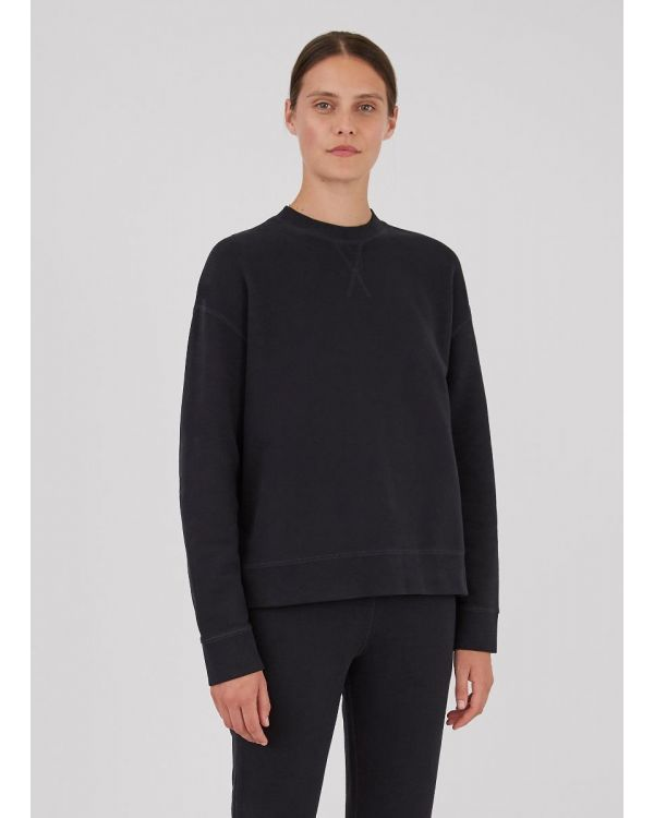 Women's Cotton Loopback Relaxed Sweatshirt in Black