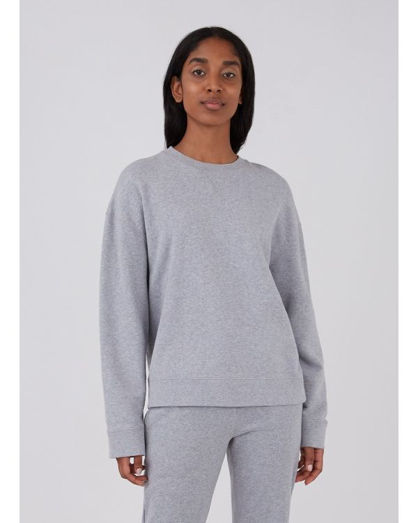 Women's Cotton Loopback Relaxed Sweatshirt in Grey Melange