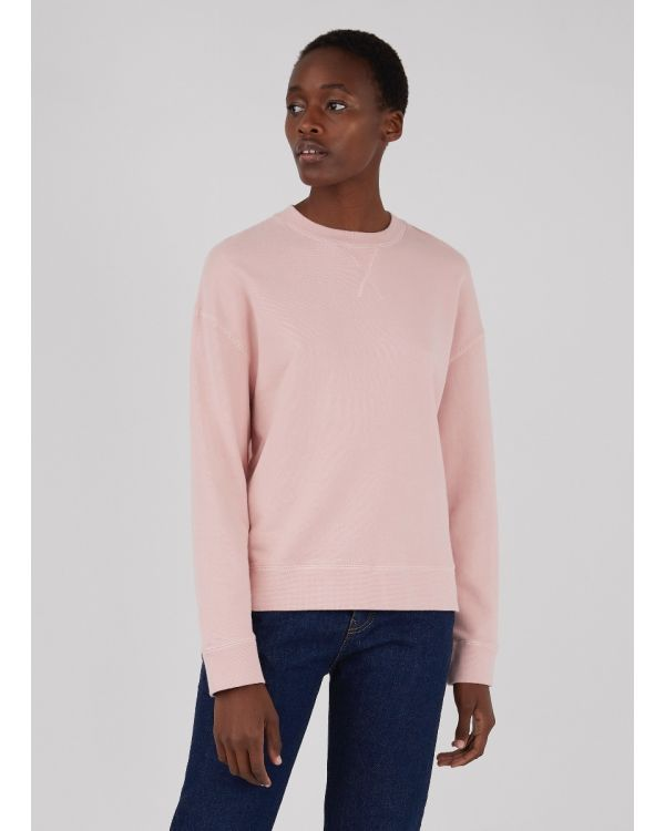 Women's Cotton Loopback Relaxed Sweatshirt in Dusty Pink