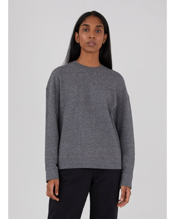 Women's Cotton Loopback Relaxed Sweatshirt in Charcoal Twist
