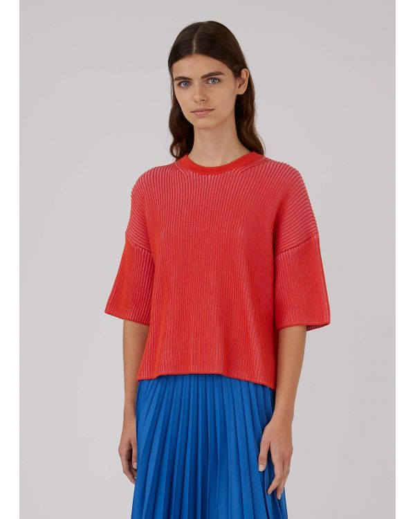 Women's Cotton Knit Contrast Rib Top in Booth Red/Pink