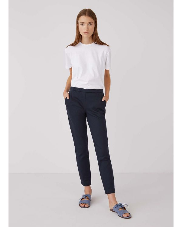 Women's Jersey Twill Slim Leg Trouser in Navy