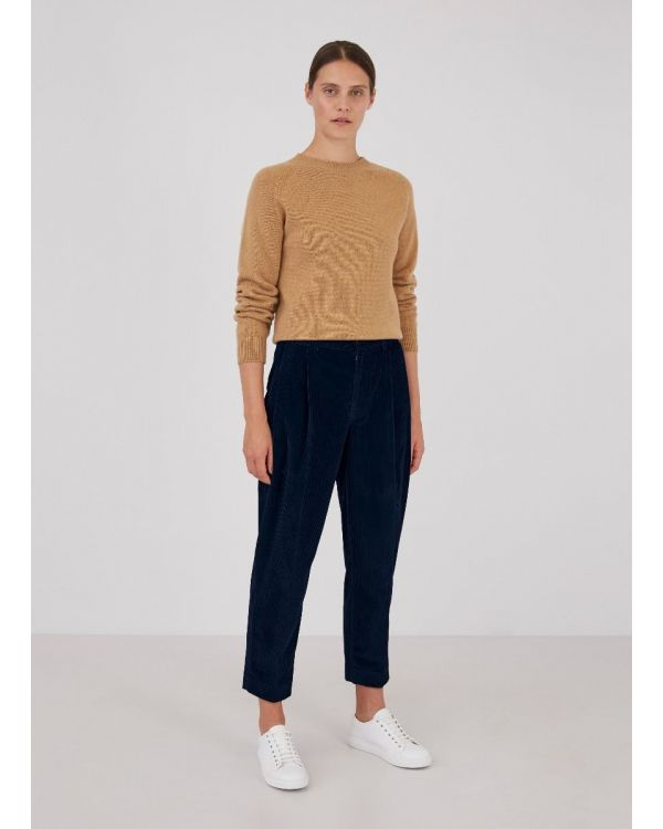 Womens Corduroy Tapered Trouser in Navy