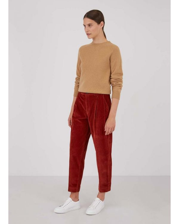 Womens Corduroy Tapered Trouser in Brick