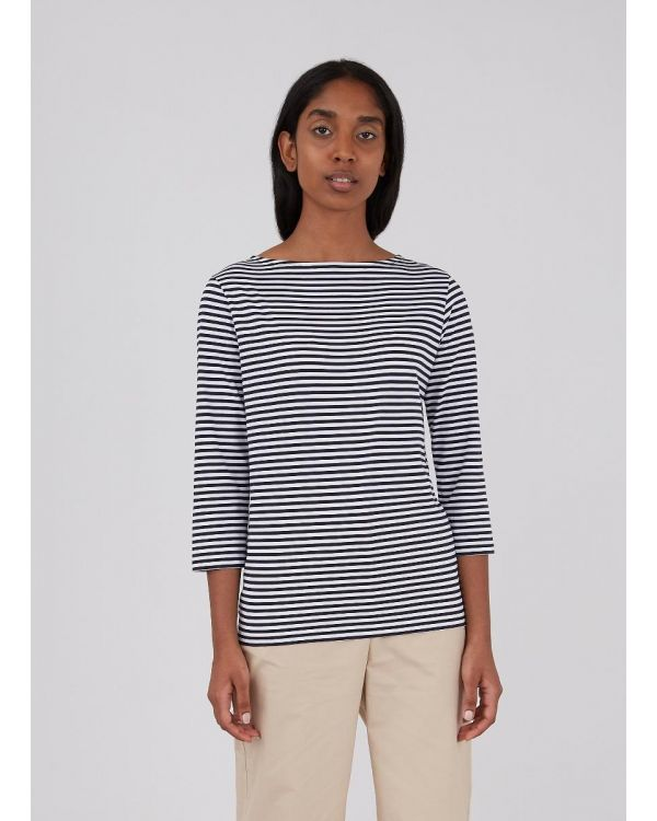 Women's Cotton Boat Neck T-Shirt in White/Navy English Stripe