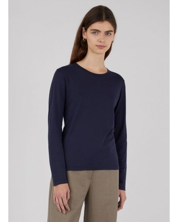 Women's Cotton Long Sleeve T-Shirt in Navy