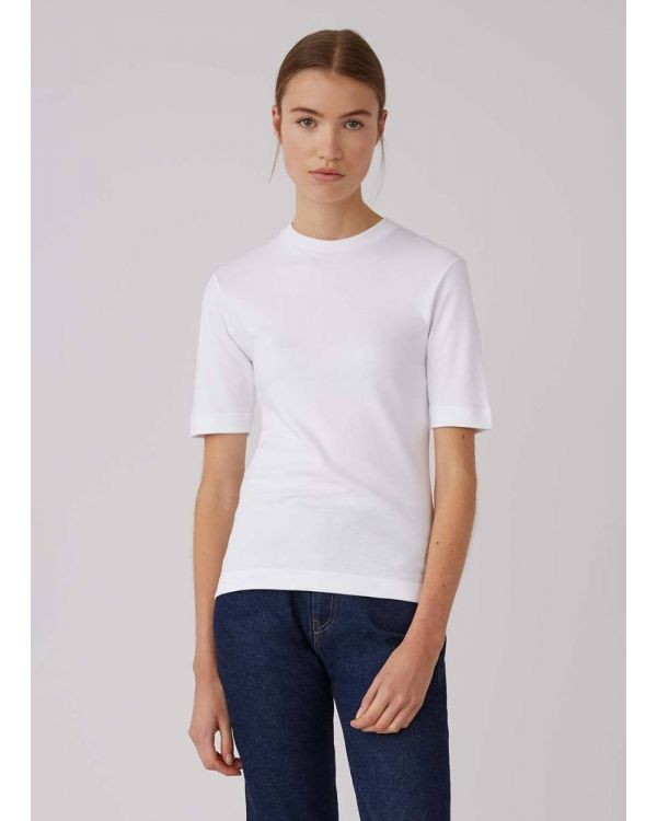 Women's Cotton Interlock Mid-Sleeve T-Shirt in White
