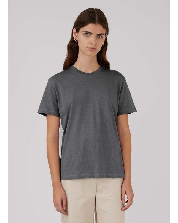 Women's Organic Cotton Boy Fit T-Shirt in Charcoal Melange