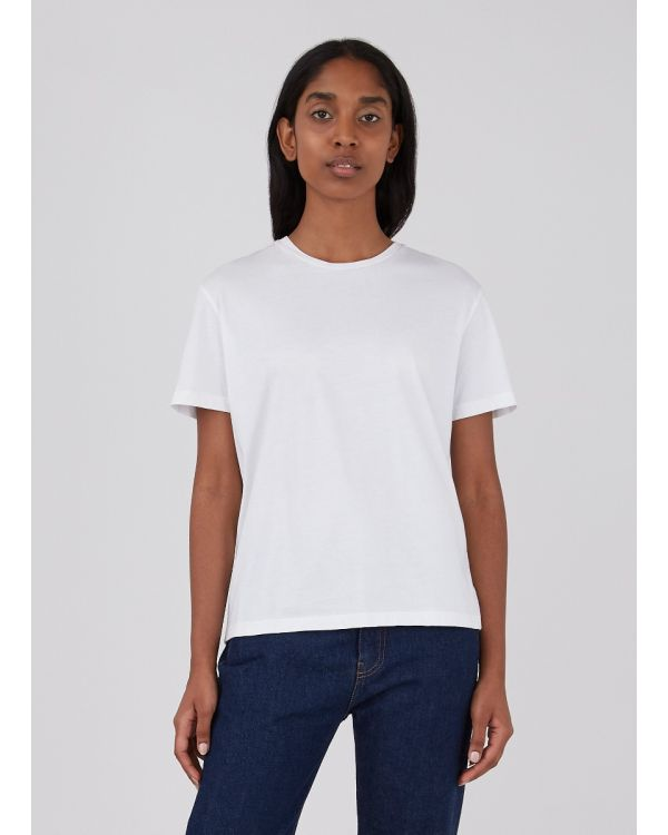 Women's Midweight Cotton Boy Fit T-Shirt in White