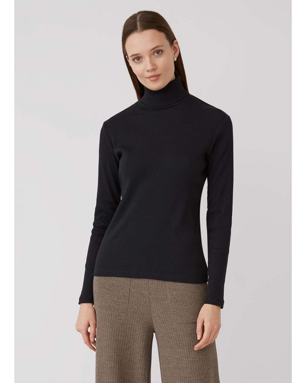 Women's Organic Cotton Rib Roll Neck T-Shirt in Black