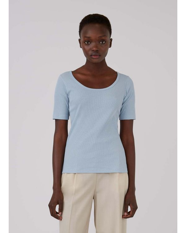 Women's Organic Cotton Rib Scoop Neck T-Shirt in Blue Jeans