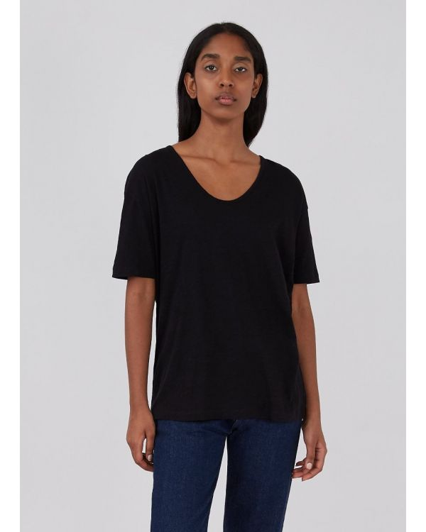 Women's Cotton Linen Relaxed Fit U-Neck T-Shirt in Black