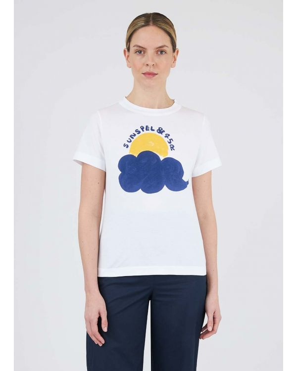 45R and Sunspel Women's Cotton Sun & Cloud Print T-Shirt in White