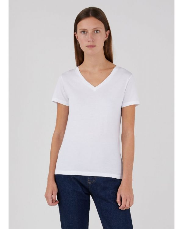 Women's Classic Cotton V-Neck T-Shirt in White
