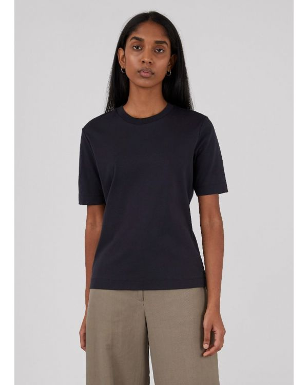 Women's Cotton Interlock Mid-Sleeve T-Shirt in Black