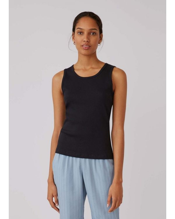 Women's Organic Cotton Rib Vest in Black