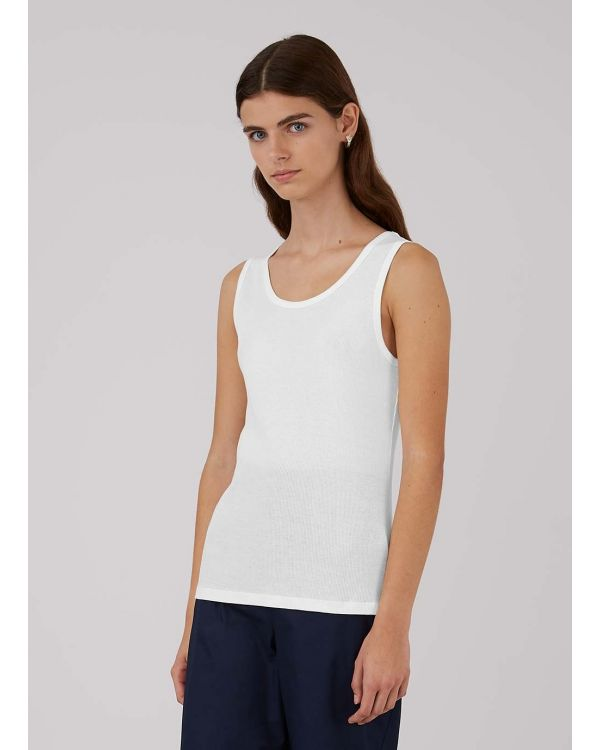 Women's Organic Cotton Rib Vest in White