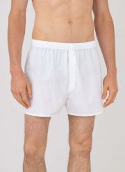 Men's Cotton Poplin Boxer Shorts in White - front model shot