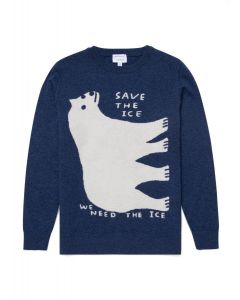 David Shrigley and Sunspel Lambswool Polar Bear Jumper in Smoke Blue Melange