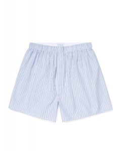 Men's Cotton Boxer Shorts in Washed Denim/Navy Tipped Stripe