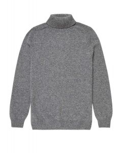 Men's Lambswool Roll Neck Jumper in Mid Grey Melange