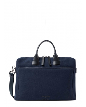 Troubadour and Sunspel Technical Canvas Briefcase in Navy