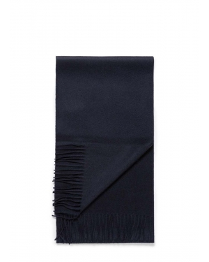 Woven Cashmere Scarf in Navy