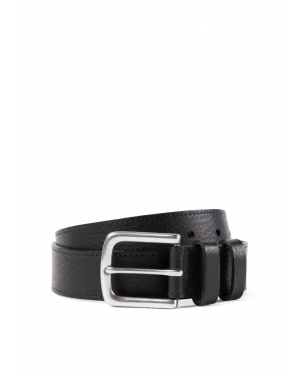 35mm Grained Leather Belt in Black