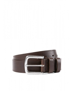 35mm Grained Leather Belt in Brown