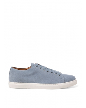 Men's Suede Tennis Shoes in Washed Denim