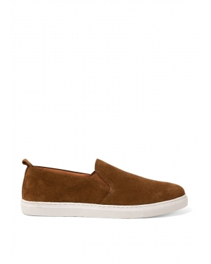Men's Suede Slip On Trainers in Tobacco