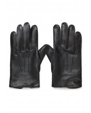 Men's Sunspel X Dents Leather Gloves with Cashmere Lining in Black