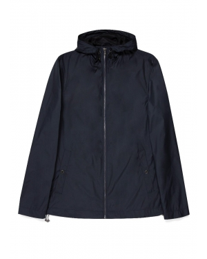 Men's Recycled Polyester Technical Hooded Jacket in Navy