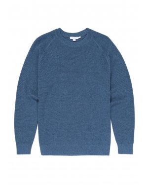 Men's Cotton Waffle Jumper in Airforce Blue