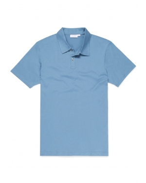 Men's Cotton Jersey Polo Shirt in Airforce Blue