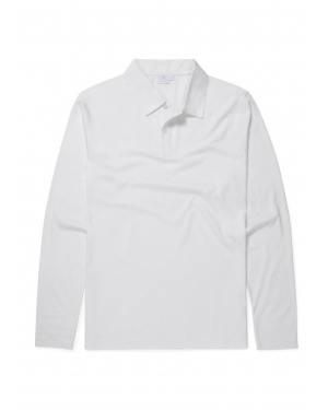 Men's Cotton Jersey Long Sleeve Polo Shirt in White