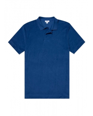 Men's Organic Cotton Towelling Relaxed Fit Polo Shirt in Ink
