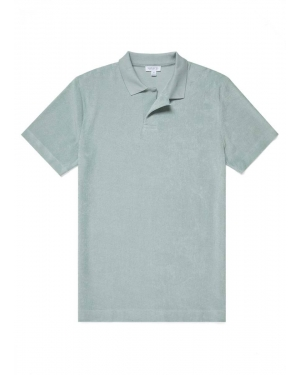 Men's Organic Cotton Towelling Relaxed Fit Polo Shirt in Dusky Green